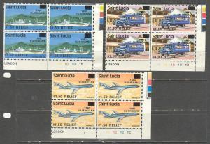 SAINT LUCIA Sc# 531 - 533 MNH FVF Set3x 4Block Airplane Ship