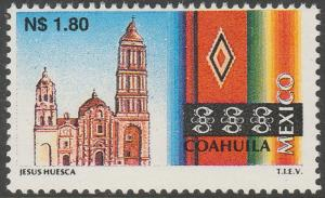 MEXICO 1786, N$1.80 Tourism Coahuila, church, sarape. Mint, Never Hinged F-VF.