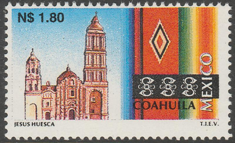 MEXICO 1786 N$1.80 Tourism Coahuila, sarape, church. Mint, Never Hinged F-VF.