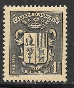 Andorra, French 65: 1c Coat of Arms, MNH, VF