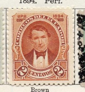 Ecuador 1894 Early Issue Fine Mint Hinged 2c. 002280