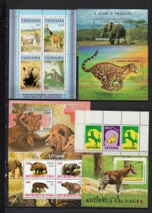 FAUNA ANIMALS SMALL COLLECTION SET OF 3 SHEETS OF 3 & 4 STAMPS & 4 S/S MNH