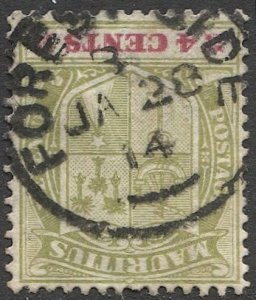 MAURITIUS 1910 Sc 140, Used VF 4c Arms, 1914 FOREST SIDE postmark/cancel