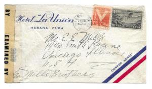 A Caribbean Island to Chicago, Illinois 1943 Hotel La Union Corner Card Censored