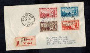 1938 Hanoi Vietnam Registered cover to USA
