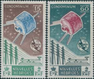 New Hebrides French 1965 SGF126-127 ITU set MNH