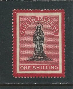 BRITISH VIRGIN IS 1867 1s BLACK & ROSE-CARMINE ON WHITE PAPER  MM SG 18 CAT £90