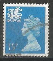 GREAT BRITAIN, WALES, Machins, 1989, used 15p bright blue, Scott WMMH26