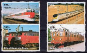 Niger 1998 Sc#1015 Trains-Locomotives Set (4) Perforated MNH