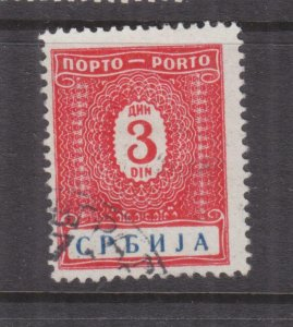 SERBIA, GERMAN OCCUPATION, Postage Due, 1942 3d. Red & Blue, used.