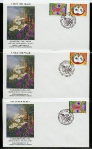 UN 1996 A PLEA FOR PEACE WFUNA CACHET BY JOHN POWELL ON 4 FIRST DAY COVERS