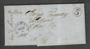 1851 Stampless Somerset Mich Cover With Contents