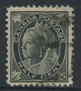 Canada - Scott 66 - Queen Victoria - 1897 - FU - Single 1/2c Stamp