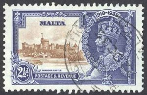 Malta Sc# 185 Used 1935 2 1/2p Silver Jubilee Issue