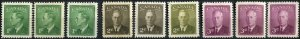 Canada SC# 284-6 George VI SHADES MNH& MH