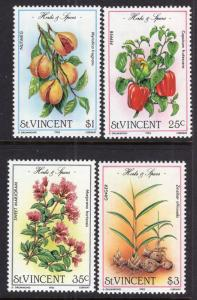 St.Vincent MNH 829-32 Herbs & Spices 1985