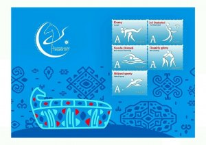 2017 Asian Sport Game Turkmenistan Ashgabat Pictogram blue 5 stamps 1 List RARE