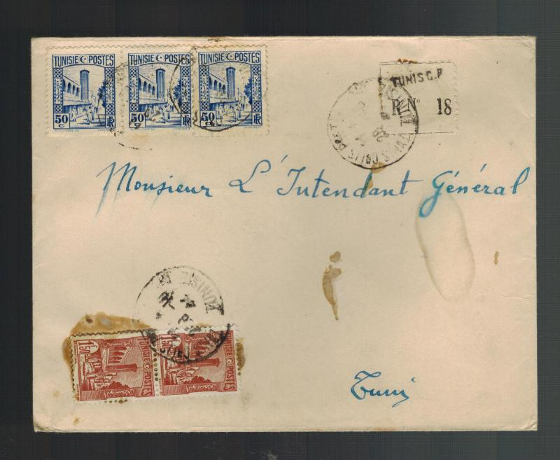 1944 Tunis Tunisia Cover to Local Use Registered
