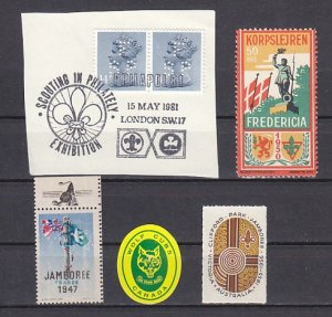Great Britain, Cinderella issue. Cancel and 4 Worldwide Scout labels. ^