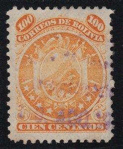 Bolivia 1890 100c Yellow. Nine stars. Used. Scott 34