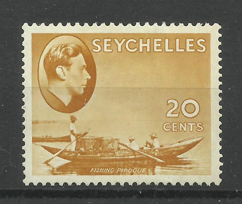 Seychelles 1938 Sg 140A, 20c Brown Ochre, Ordinary paper, Mounted Mint [1281]