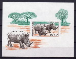 Chad 1985 Sc#568 WHITE RHINOCEROS S/S IMPERFORATED MNH
