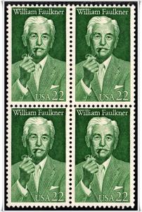SC#2350 William Faulkner Block of Four (1987) MNH