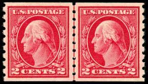 momen: US Stamps #413 COIL LINE PAIR Mint OG NH PSE Graded XF-90