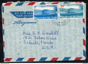 d258 - CONGO 1966 Airmail Cover to USA. Air Letter Aerogramme