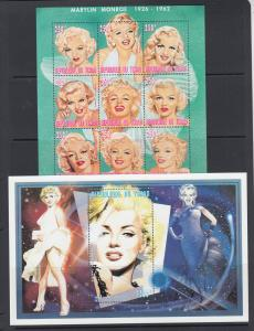 Chad Sc 704j, 727-728 MNH. 1996 Marilyn Monroe, 2 complete sets, VF