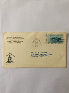 1952 25 years of rail 3c First day cover. Baltimore post mark to Fresno.
