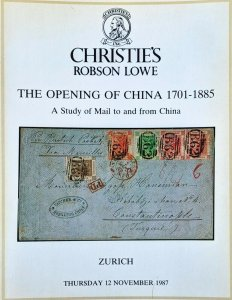 Auction Catalogue MAIL TO AND FROM CHINA 1701-1885 Covers Postal History