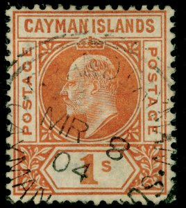 CAYMAN ISLANDS SG12, 1s orange, FINE USED, CDS. Cat £48.