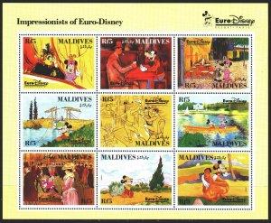 Maldives. 1992. Small sheet 1831-39. Disney, cartoons. MNH.