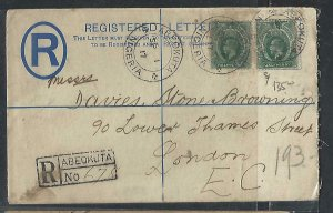 SOUTHERN NIGERIA COVER (P1211B) 1917 KGV 1/2DX2 ON NIGERIA 2D RLE ABEOKUTA TO UK