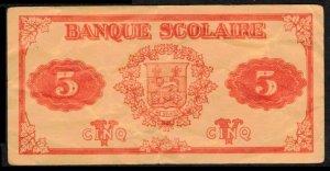 1920 CANADA, QUEBEC $5. USED SCHOOL BANK PAPER MONEY NO LEGAL VALUE, CINDERELLA