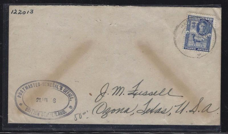 SOMALILAND COVER (PP0312B)  1949 KGVI GOAT 3A  TO USA  #2