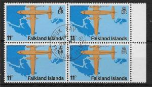 FALKLAND ISLANDS SG361w 1979 AIRPORT 11p WMK S/WAYS INV USED BLK OF 4