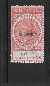 SOUTH AUSTRALIA 1886-96   50/-   QV  MNH  SPECIMEN  P11 1/2-12 1/2  SG 201as