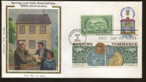 1981 Chicago Illinois Banking & Commerce Colorano Silk Cachet First Day Cover