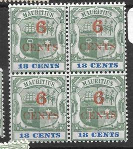 MAURITIUS (P0202B) ARMS 6C/18C  SG 134  BL OF 4   MNH