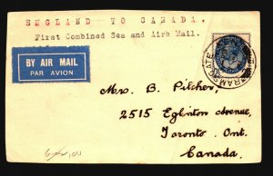 Great Britain 1931 First Flight Card to Canada / Diag Crease - Z17741
