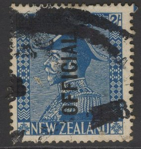 NEW ZEALAND SGO112 1928 2/= LIGHT BLUE HEAVY USED