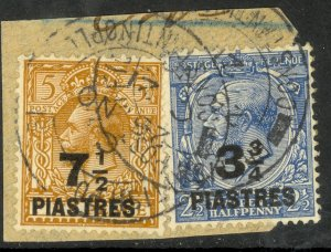 GREAT BRITAIN OFFICES IN TURKEY 1921 KGV 3 3/4pi & 7 1/2pi Issue Sc 57,59 VFU