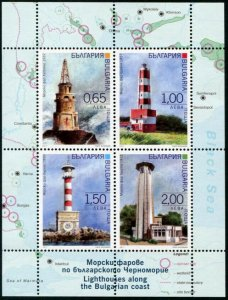 HERRICKSTAMP NEW ISSUES BULGARIA Sc.# 4816a Lighthouses 2017 S/S