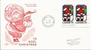 1973 Canada- FDC - RoseCraft - Sc 627 - Christmas - Santa Claus - pair