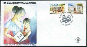 Aruba 180-181 FDC. National Library,50th Ann.1999.