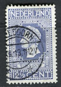 NETHERLANDS; 1913 early Independence issue fine used 12.5c. value, fair Postmark