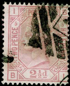 SG141, 2½d rosy mauve PLATE 5, USED. Cat £60. BI