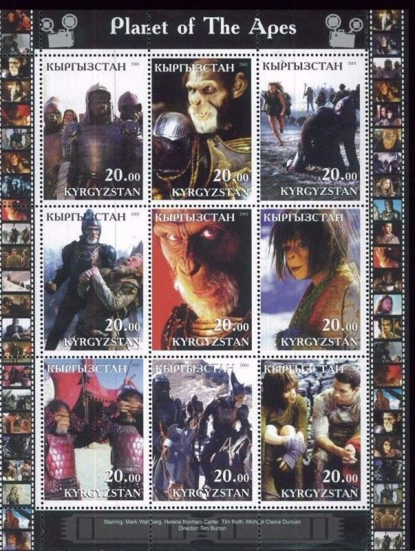 PLANET OF THE APES Mark Wahlberg - Mini Sheet of 9 MNH Kyrgyzstan - E33